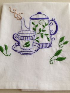 Teapot and cup! Herb Embroidery, Hand Embroidery Projects, Floral Embroidery Patterns, Hand Embroidery Flowers, Free Machine Embroidery Designs, Vintage Embroidery, Embroidery Stitches, Fabric Painting, Needlework