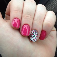 Pink and leopard mani! Nails by Michelle.
