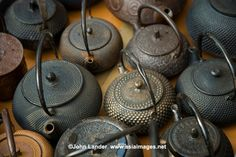 Japanese tea kettles of iron