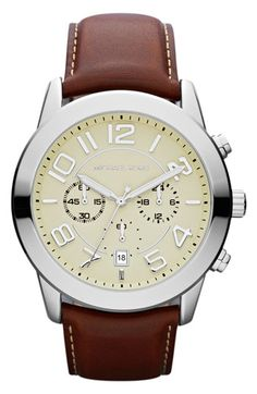 Michael Kors 'Mercer' Large Chronograph Leather Strap Watch, 45mm