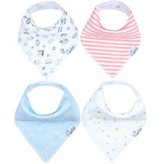 - Designs for Girl - Designs include jewels, light blue scallops, pink stripes and metallic stars. - Absorbent cotton drool bib - These stylish drool bibs are made of 100% absorbent cotton on the fron