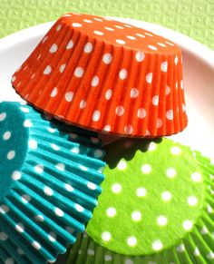 Assorted Polka Dot Cupcake Liners in Lime, Orange and Jade Green (60). $4.25, via Etsy.
