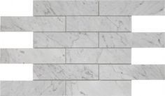 """2×8+Italian+White+Carrera+Brick+Pattern+Polished+Mosaic+Tile+-+Italian+White+Carrara+marble+2+in.+x+8+in.+brick+mosaic+tile+by+socifor+any+accent+wall+or+floor+covering+project.+This+white+Carrara+Marble+tile+comes+in+the+form+of+12""""+x+12""""+mesh+mounted+mosaic+sheet,+which+approximately+covers+1+sqft.+The+surface+finish+of+the+tile+is+polished,+a+smooth+shiny+finish+which+brings+life+to+space.This+brick+pattern+white+tile+with+blue+grey+markings+is+suggested+for+installati"""