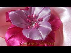 Ribbon flowers:simple&nice/Flores de cintas:bonito&sencillo/Цветы из лент:просто и красиво.МК - YouTube