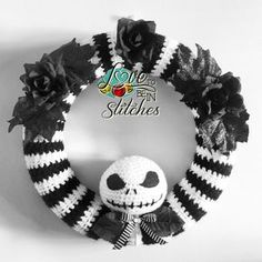 Jack Skellington Wreath - free crochet pattern at Love To Be In Stitches. Nightmare Before Christmas.