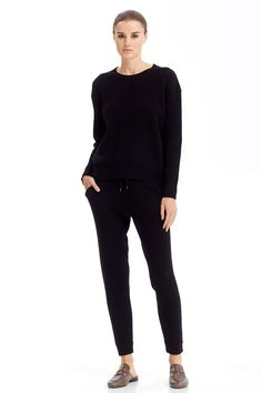 Cozy lounge pants, drawstring waist, ribbed knit, 415 grams of 100% pure cashmere in 7-gauge knit