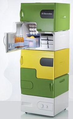 Small, separate refrigerators for roommates we so need this for the salon