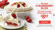 Double Cream Strawberry Pie #mariecallenders #pie #dessert