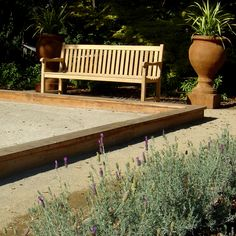 Bocce and bench traditional-landscape Amazing Gardens, Beautiful Gardens, Outdoor Venues, Outdoor Decor, Bocce Ball Court, Secret House, Royal Park, Traditional Landscape, Diy Garden Decor