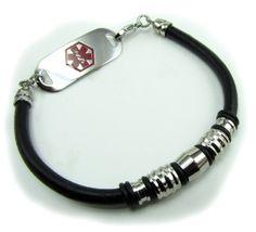 Free Medical Alert Bracelets | Medical ID › Medical ID Bracelets › Ardent Leather Medical Alert ...