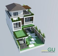 No photo description available. Unique House Design, House Front Design, Minimalist House Design, Tiny House Design, 3d House Plans, House Plans Mansion, Modern House Plans, Home Building Design, Building A House
