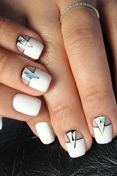 #white #manicure #black #nails #love #nailart #gelnails #nail #naildesign #art #beauty #beautiful #gelpolish #nailswag #style #nailpolish #gel White Manicure, Minimalist Nails, Swag Nails, Gel Polish, Gel Nails, Nailart, Nail Designs, Beautiful, Beauty