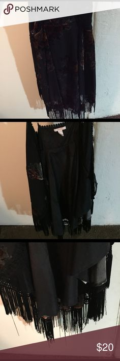 Floral velvet cardigan Tank top floral cardigan with velvet backside and black tassels hanging from the bottom-only worn once to a baby shower Forever 21 Jackets & Coats