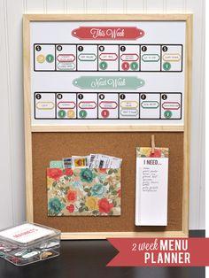 Silhouette Blog- two week menu calendar.
