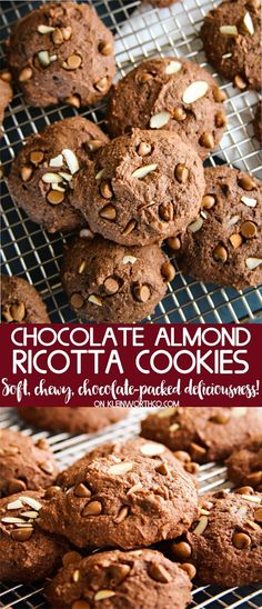 Chocolate Almond Ricotta Cookies are soft, moist, cake-like cookies that are so easy to make. Topped with slivered almonds, these cookies are loved by all. via @KleinworthCo #ricotta #chocolate #cookies #holiday #almond #christmas
