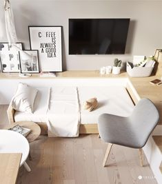 No matter how big your home, you want to be able to maximize your use of the space. In a larger area, this is a bit easier to do with the careful placement of f Small Apartment Interior, Small Apartment Design, Small Apartment Living, Small Room Design, Cozy Apartment, Small Apartments, Home Interior, Small Spaces, Interior Decorating