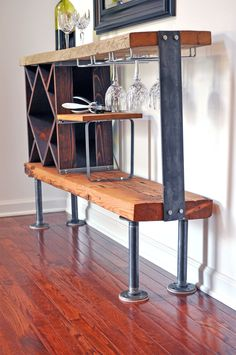 Rustic industrial wine rack console made from reclaimed barn wood. Industrial Wine Racks, Rustic Industrial, Industrial Furniture, Rustic Furniture, Can Wine Go Bad, Wine Baskets, Wine Refrigerator, Reclaimed Barn Wood, Home Decor Items