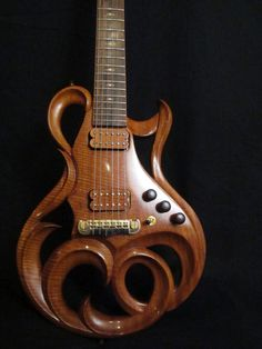"~I wish I could hear this guitar being played.~ ""Phoenix Hand Carved Electric Guitar By Rigaud Guitars"" -- Click through for detailed photos, including some of beautiful inlay work. Unique Guitars, Custom Guitars, Vintage Guitars, Guitar Art, Music Guitar, Cool Guitar, Guitar Notes, Music Music, Guitar Shop"