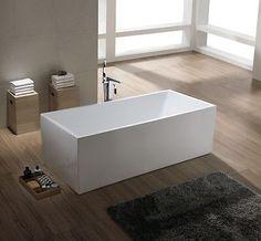 1001 NOW Burano Modern Seamless White Acrylic Luxury Freestanding Bathtub