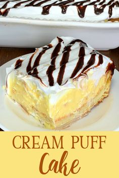 This homemade Cream Puff Cake is super EASY to make and tastes so good everyone will ask for this dessert recipe! The cream filling is my favorite layer! Puff Pastry Desserts, Kid Desserts, Light Desserts, Puff Pastry Recipes, Chocolate Desserts, Dessert Recipes, Easter Recipes, Cake Recipes, Chocolate Eclair Dessert