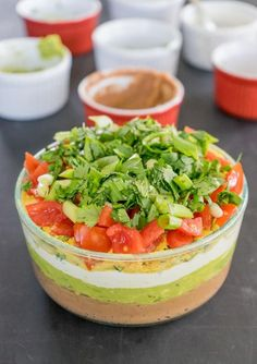 Vegan 7-Layer Dip that's super easy, healthy, and made from only unprocessed ingredients!
