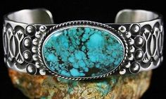 NAVAHO HERMAN SMITH RARE GEM GRADE GODBER BURNHAM SPIDERWEB TURQUOISE