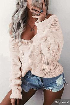 Pink V-neck Long Sleeves Causal Loose Jumper - US$16.79 -YOINS