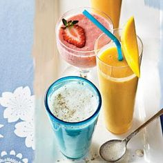 Use frozen peaches and mango slices to make this quick and easy smoothie that's perfect for a snack or breakfast on the go.