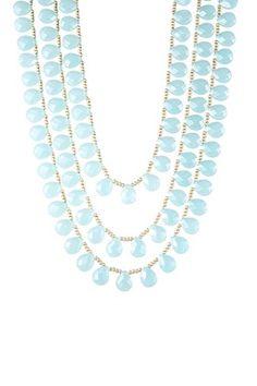 Chalcedony Glass Briolette & Beaded Triple Strand Necklace on HauteLook