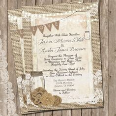 Rustic Wedding Invitation Burlap and Lace by WallflowerEvents