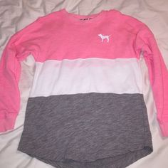 VS Pink color block crew Vs pink color block crew. Really not 100% on getting rid of this. NWOT. It was washed so tags are off but I haven't worn it yet. I love it but I never get to wear it. Priced to see what offers I'd get. PINK Victoria's Secret Sweaters