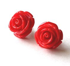 Red rose flower stud earrings by Bunnys on Etsy, $18.00