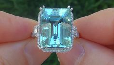 GIA 13.80 ct FLAWLESS Natural Aquamarine Diamond 14k White Gold Estate Ring
