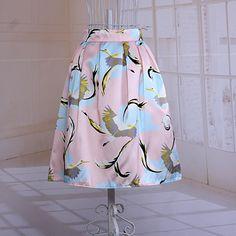 Artistic Pastel Crane Skirt