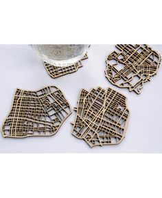 Coaster Set of American Cities, made from laser-cut birch plywood - from WALRUS