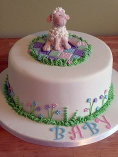 Baby lamb cake..all edible - No, I didn't make this, but had @Krisdee Norton made this for a baby shower. Turned out very cute- instead of blanket and lowers she did a bead of green grass :)