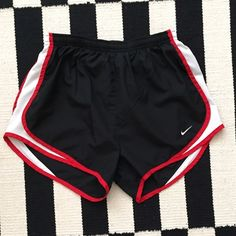 Nike fit dry running shorts with liner sz S ⚽️❤️ Nike fit dry running shorts with liner sz S ⚽️❤️ perfect used condition❤️ black, red, and white⚽️ Nike Shorts