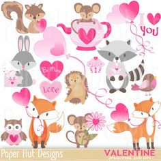 Valentine Clipart-Cute Valentine Animal Clipart. Rabbit-Mouse-Owl-Fox-Hedgehog-Racoon-Heart Balloons. Ideal for Valentine Cards-Scrapbooking by PaperHutDesigns on Etsy https://www.etsy.com/uk/listing/451179724/valentine-clipart-cute-valentine-animal