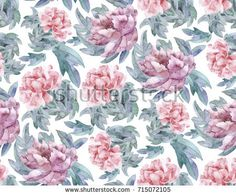Seamless pattern with watercolor colors. Illustration in gentle colors with pink peony