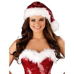 Sequin Santa Hat with Fur Trim For Fancy Dress in Clothing, Shoes & Accessories, Costumes, Reenactment, Theater, Costumes | eBay