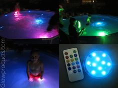 Glowing Pool Party made easy with remote controlled waterproof light discs. 13 Colors! Rainbow Mode! Easy! Affordable! Awesome! http://glowproducts.com/products/HDLPSUBR