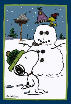 snoopy woodstock and the snowman happy new year