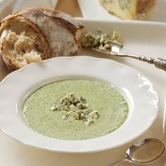 Try this creamy Broccoli and blue stilton soup for your Christmas starter. Packed full of flavour | Best Christmas starter recipes | Christmas Recipes - Red Online - Go to www.redonline.co.uk for the recipe.