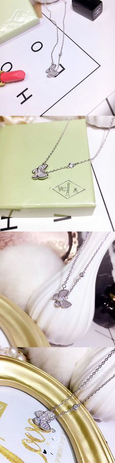 Diamond 164331: Van Cleef Arpels Butterfly Pendant 18K White Gold Diamond Necklace -> BUY IT NOW ONLY: $469.99 on eBay!