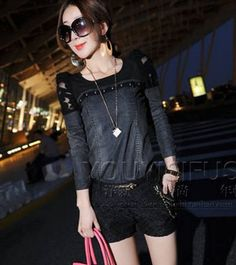 awesome Hook flower rivet splicing leather jeans round collar T-shirt