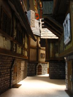 a narrow alleyway of Mordheim. not the easiest to play games in, but gloriously evocative.