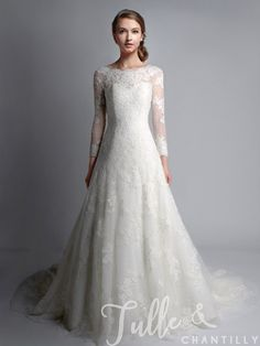 Vintage Bateau Neck Long Sleeves Lace Wedding Gown TBQWC024 click for 40+ colors