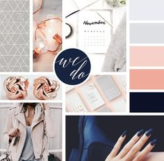 Mood Board Design For Branding Inspiration. Includes Navy, Rose Gold, and Grey Color Palette for a fun feminine brand with a sophisticated twist. / Designed by Infinite Reach Media