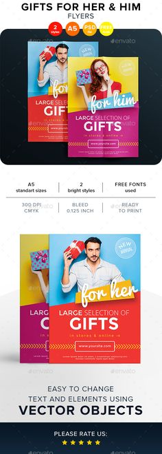 Gifts For Her & Him Flyers Template PSD
