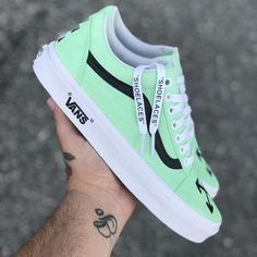 """Off White Old Skool """"Mint"""" - Shoes - Women Sports Vans Sneakers, Sneakers Mode, Mint Shoes, Wedge Shoes, Women's Shoes, Guy Shoes, Off White Shoes, Asos Shoes, Mules Shoes"""